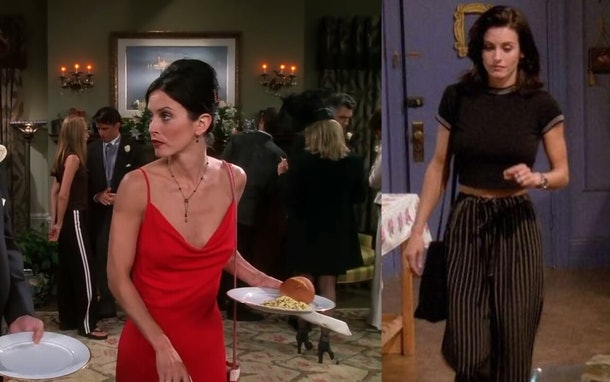 Monica Geller's flowy pants and a red bridesmaid dress are both a great Friends costumes for Halloween option that your entire gang will love.