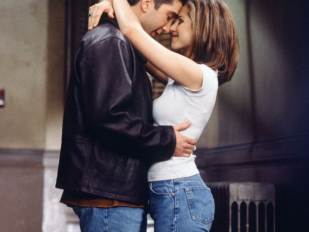 Rachel and Ross's embrace reveals another signature Rachel Green look that makes for a great Friends costume for Halloween.