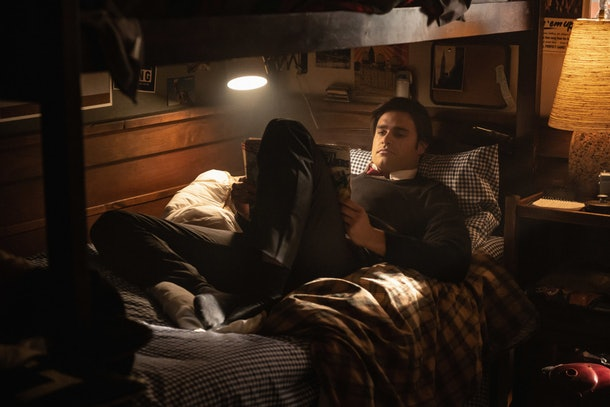Moose reading in bed at Stonewall Prep in 'Riverdale'