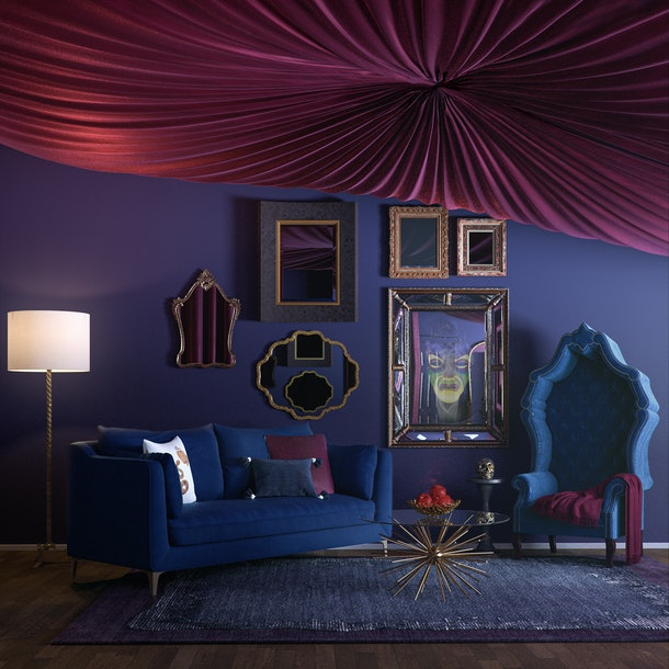 A home decorated like the Evil Queen's from 'Snow White and the Seven Dwarfs' shows what a Disney villain's home would look like in 2019.