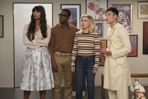 Tahani, Chidi, Eleanor, and Jason gasping because these The Good Place theories for final season are so good