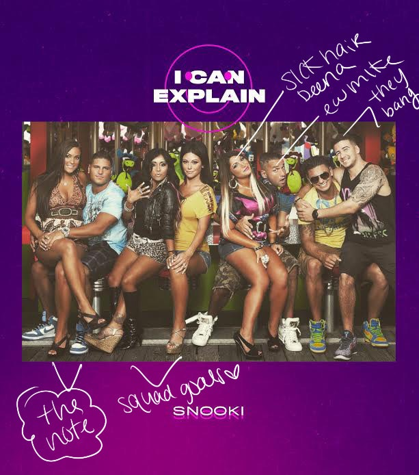 Photo of the Jersey Shore cast annotated by Snooki