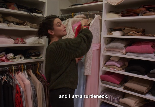 Jenny Slate in her Nana's closet in Netflix special Stage Fright