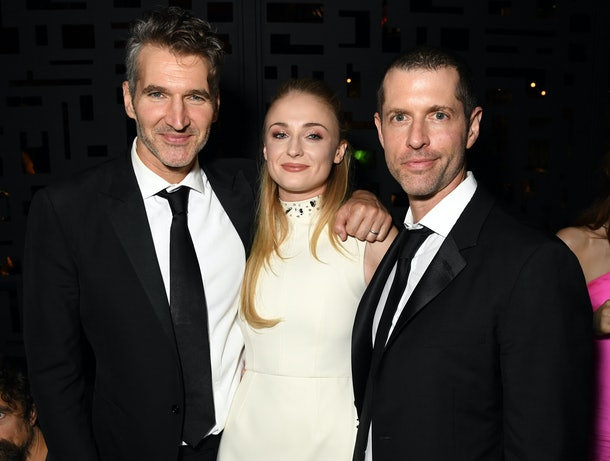 David Benioff, Sophie Turner, and D. B. Weiss