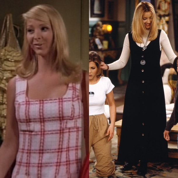 Phoebe Buffay's pink dress, jewelry and long dresses make for a great Friends Halloween costume your entire friends group will love