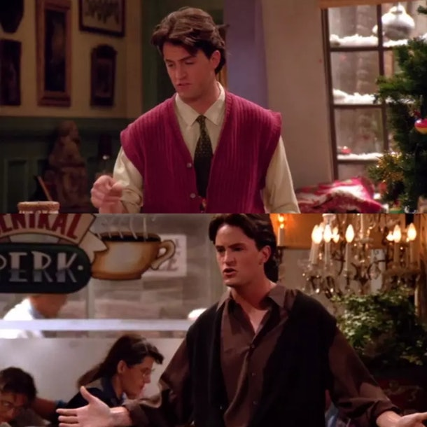 Chandler's sweat vests over a shirt make for a great Friends Halloween costume