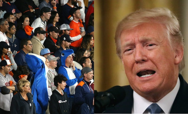 Donald Trump was booed at Game 7 of the World Series and he wasn't even there.
