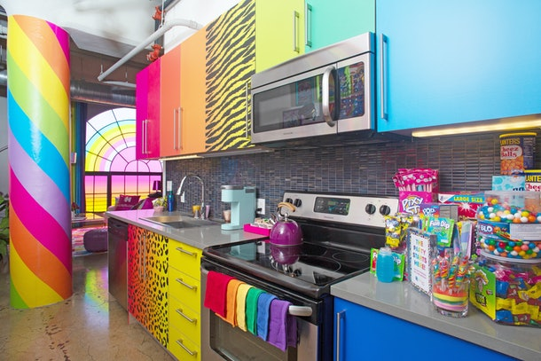 Hotels.com's Lisa Frank flat kitchen in Los Angeles, California