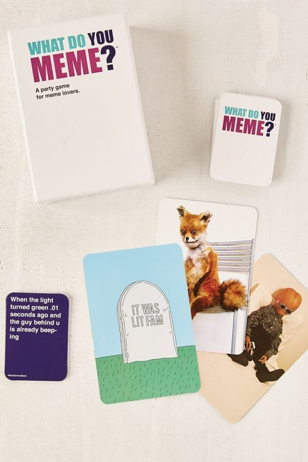 Dress up as one of the cards from the What Do You Meme? game for a clever Halloween costume.