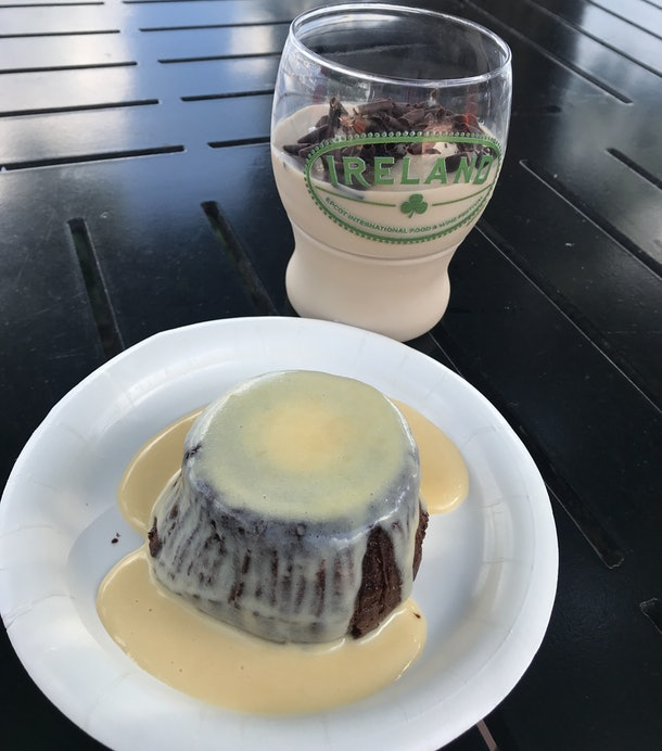 Warm chocolate pudding and Guinness Baileys Shake at Epcot's Food & Wine Festival at Disney.