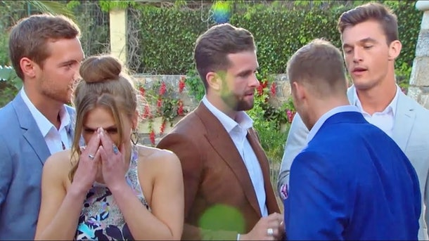 Hannah Brown crying during Rose Ceremony on 'The Bachelorette'
