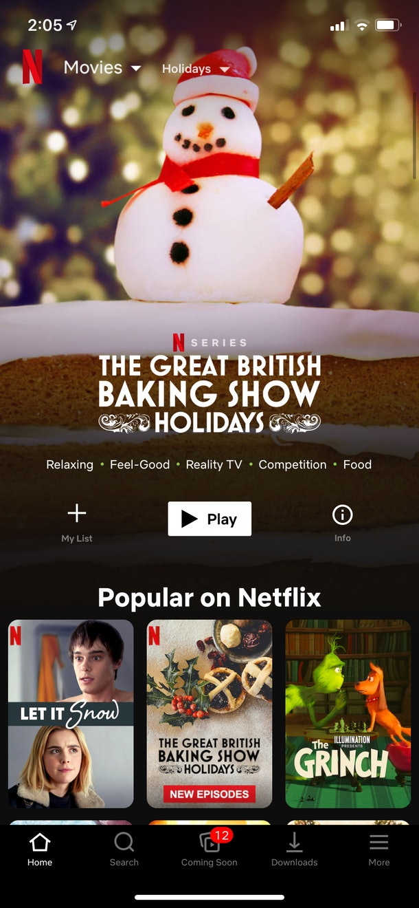A screenshot of the Netflix app shows the holiday movies category, featuring The Great British Baking Show.