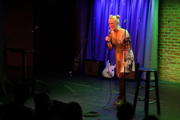 """Comedian Amber Rollo performs at """"Rape Jokes By Survivors"""" on November 8, 2019."""