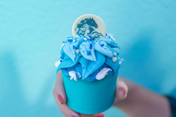 The Frozen Fractals Cupcake with white and blue frosting is available at Disney in celebration of 'Frozen 2.'