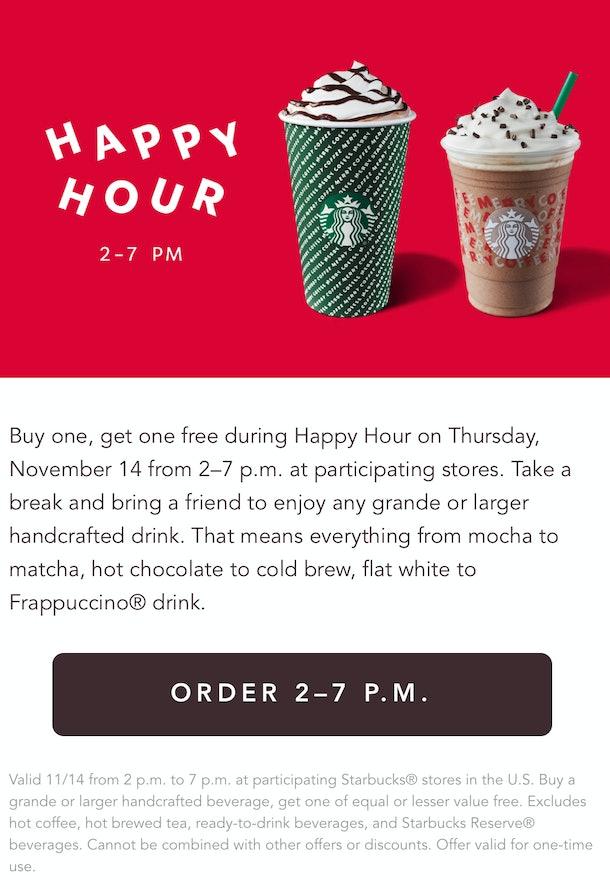 Starbucks' Nov. 14 Happy Hour is a BOGO deal.