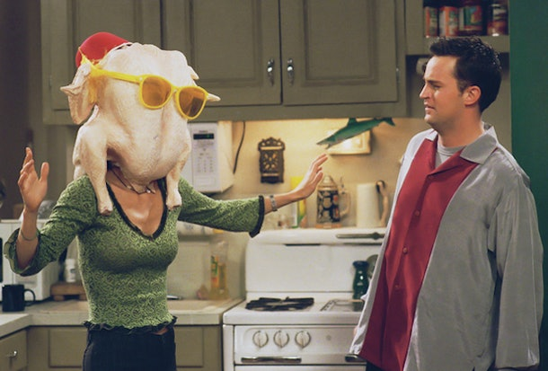 Monica with turkry on her head on 'Friends'