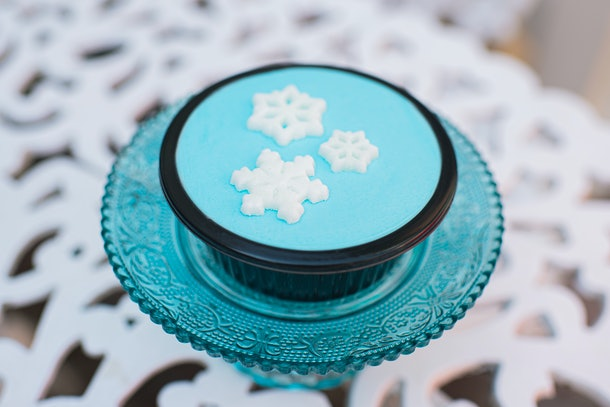 A top view of the blue Snowflake Brownie treat, which is available at Mickey's Very Merry Christmas Party.