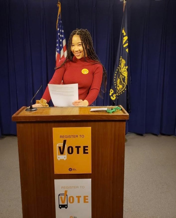 Amira Tripp Folsom is involved in voting reform and gun control efforts.