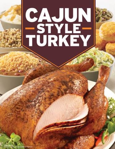 The Price Of Popeyes' Cajun Style Turkey is for a 13-16 pound bird.