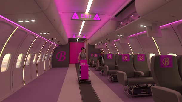 """A rendering of the """"Toxic"""" room at the Britney Spears pop-up features hot pink decor on the interior of an airplane."""