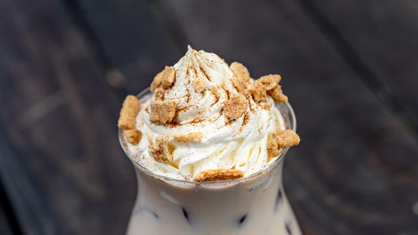 The house-made horchata drink with whipped cream on top is offered at Disneyland's holiday celebration.