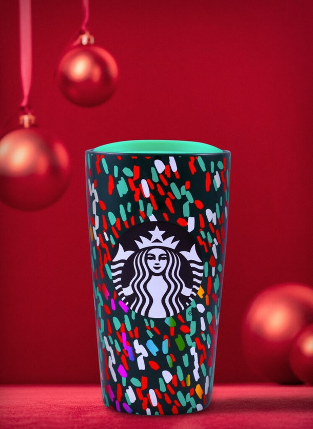 Starbucks' Holiday 2019 Tumblers & Cold Cups include the Confetti Green Tumbler.