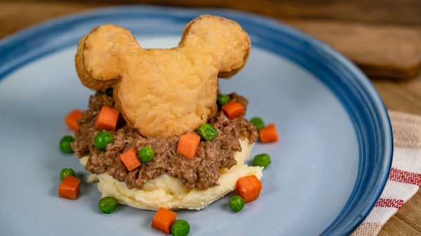 The shepherd's upside down pie is offered at Disneyland's holiday celebration.