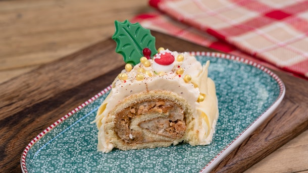 The churro yule log is offered at Disneyland's holiday celebration.