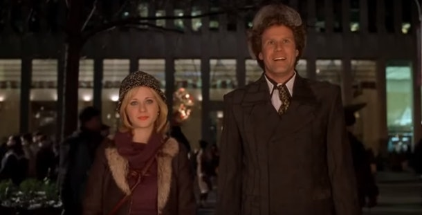 A scene from the movie 'Elf' where Buddy the Elf and Jovie go on a date.
