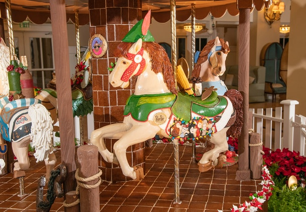 A 'Peter Pan'-themed gingerbread carousel with chocolate horses is on display at Disney's Beach Club Resort in Disney World for the 2019 holiday season.