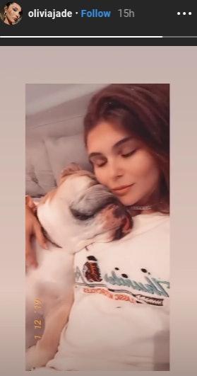 Olivia Jade and her bull dog.