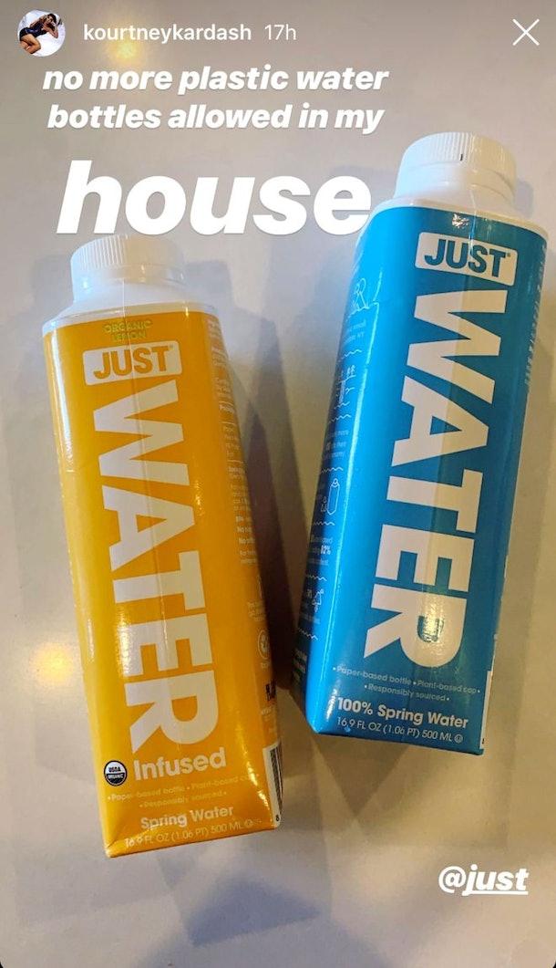 Kourtney Kardashian's Instagram of her cardboard water bottles.