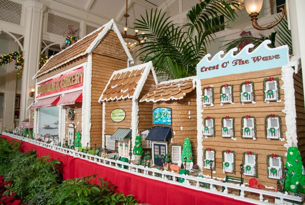 The gingerbread boardwalk with shops and restaurants is on display at the Disney's Boardwalk Resort in Disney World during the 2019 holiday season.