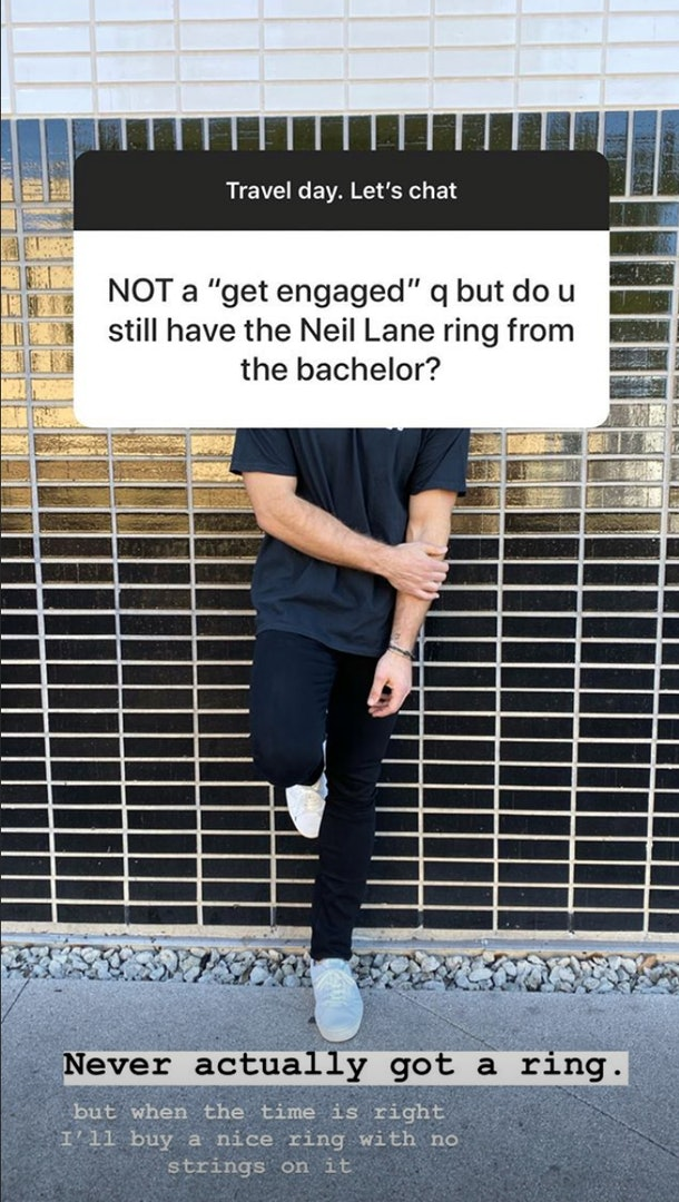 Colton Underwood responded to a 'Bachelor' fan's question about an engagement ring on Instagram.