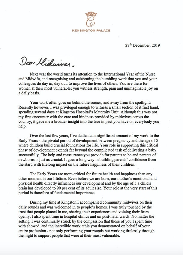 Kate Middleton's Letter To Midwives was released by Kensington Palace, and it's one of the nicest things you'll read.