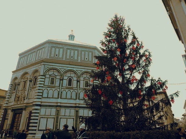 A decorated tree is set up near the Duomo in Florence, Italy around Christmas.