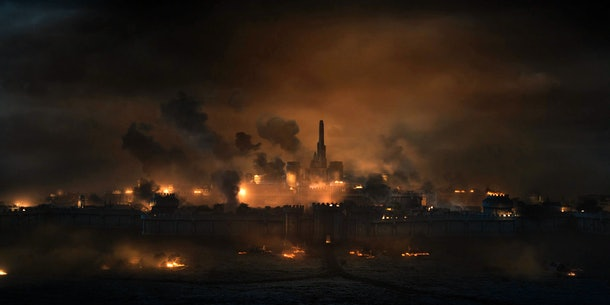 The Witcher city burning