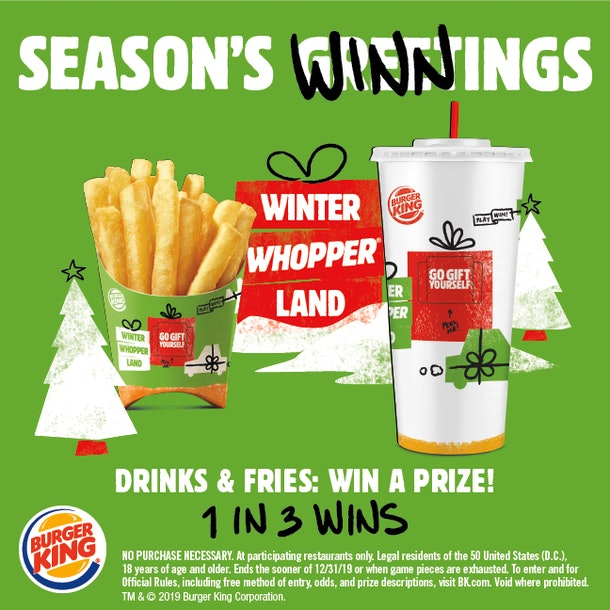 Burger King's Winter Whopperland Instant Win Game includes over 50,000 prizes.