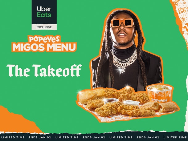 Popeyes' Migos Menu Includes a menu option with two Popeyes' Chicken Sandwiches.
