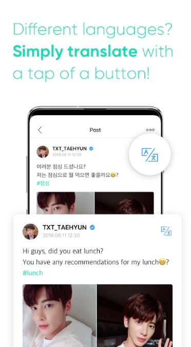 BigHit's Weverse app's translation feature