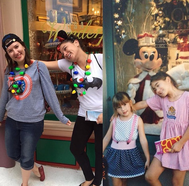 Sisters pose the same at Disney together.