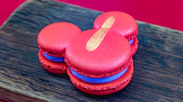 The Mickey Mouse-shaped Puple Yam Macaron is served at Disneyland's Lunar New Year celebration.