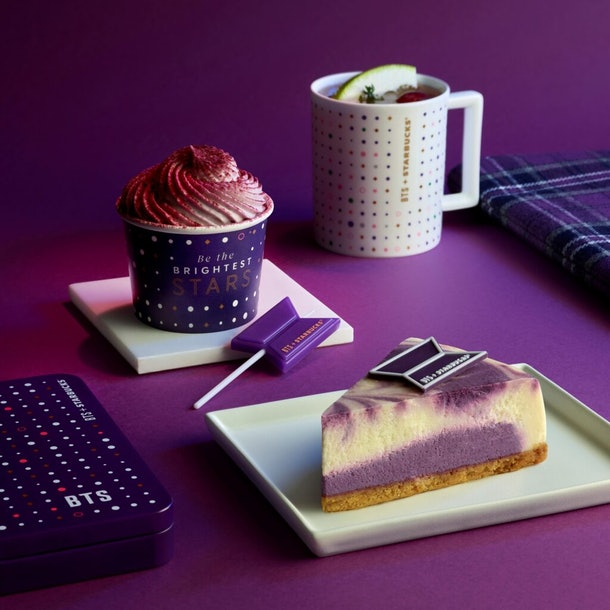 This Starbucks Korea & BTS Collaboration has the sweetest purple merch and food items, including a Purple Star Macaroon.