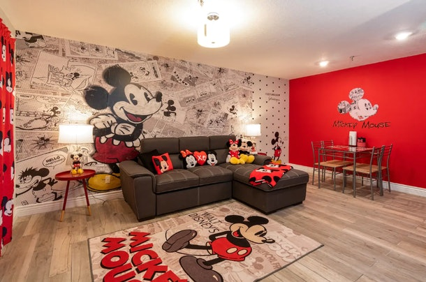 This Mickey Mouse-themed Airbnb has Mickey Mouse walls.