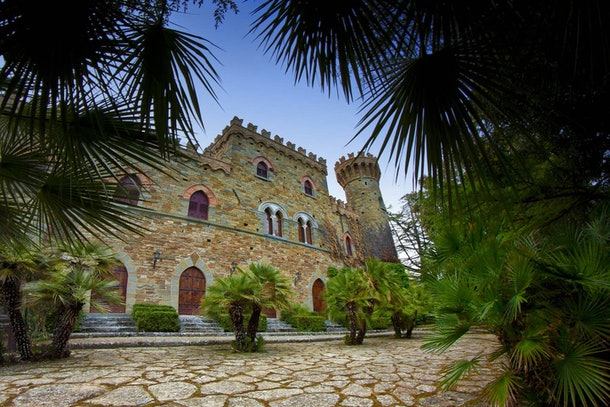The castle listed on Airbnb has a stone walkway and palm trees surrounding it.