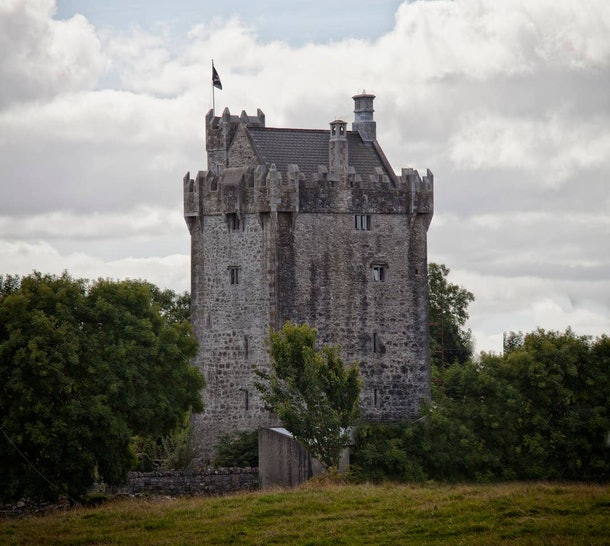 A castle tower listed on Airbnb is surrounded by greenery.
