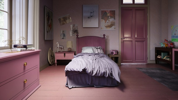 A Tina Belcher from 'Bob's Burgers'-inspired cartoon bedroom has pink furniture, horse decor, and a purple bedspread.