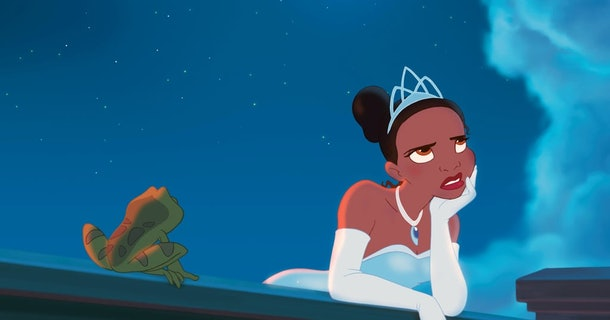 Tiana from 'The Princess and the Frog' looks up at the sky frustrated while the frog looks at her.