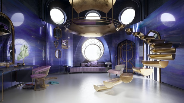 A gold staircase is in the center of a purple Glimmer from 'She-Ra and the Princesses of Power'-inspired cartoon bedroom.