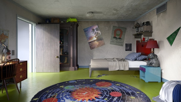 A planet rug sits on a green floor in a 'Ricky and Morty'-inspired cartoon bedroom.